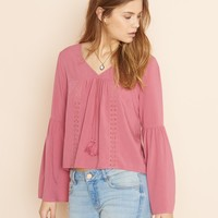 Bell Sleeve Top With Crochet