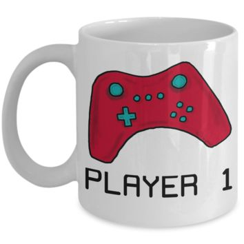 Video Gamer Coffee Mug ~ Player 1 ~ Gift for Gaming Geek
