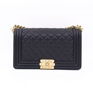 Authentic Chanel A67086 Y07659 Medium Boy Leboy Black Calfskin Shoulder Bag Gbhw