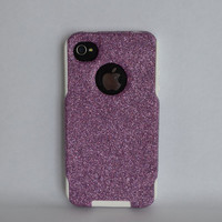 Custom iPhone 4 4s Glitter Otterbox Commuter Cute Case,  Custom  Glitter Pink / White Otterbox Color Cover for iPhone 4 4s