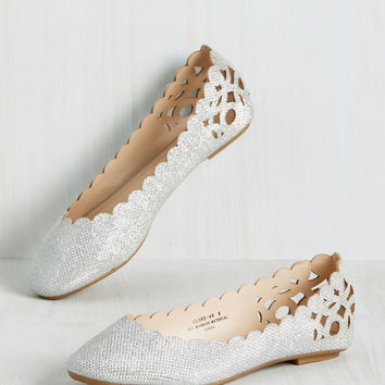 Above and Beau Monde Flat in Silver | Mod Retro Vintage Flats | ModCloth.com