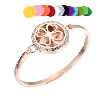 Four Leaf Clover Shape Perfume Air Freshener Bangle Stianless Steel Essential Oil Diffuser Locket Pendant Braclet Fragrant