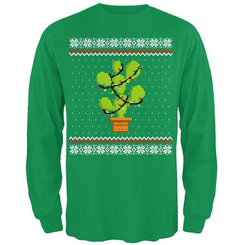 Cactus Prickly Pear Tree Ugly Christmas Sweater Mens Long Sleeve T Shirt