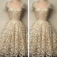 FASHION LACE HOLLOW OUT SHORT-SLEEVED DRESS