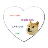 Custom Personalized Doge Heart Mousepad - Heart Personalized Mouse Pads