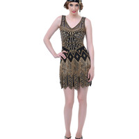 Black & Gold Beaded Fringe Flapper