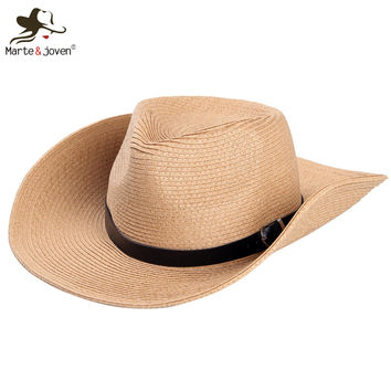 Classic Outdoor Casual travel Straw hats for men wide brim floppy summer sun hat high quality leather belt Foldable cowboy caps