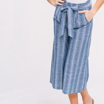 Cropped Culottes, Blue