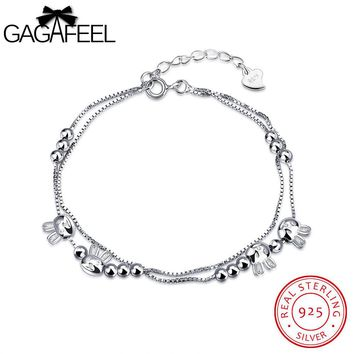 GAGAFEEL Cute Cat Women Bracelet Sterling Silver Jewelry White Color Round Bead Female Watch Bangle Chain For Girls Friendship