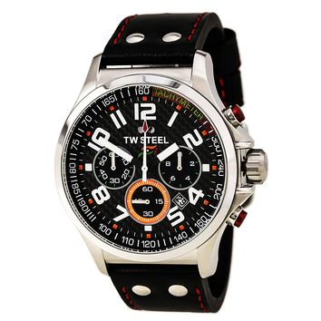 TW Steel TW433 Men's Sahara Force India Black Carbon Fiber Dial Chrono Black Strap Watch