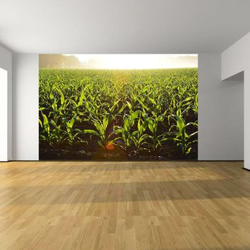 Fog Over Corn Field Custom Designed Wallpaper Peel and Stick