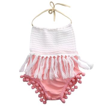 Newborn Toddler Baby Girls Tassels Strap Romper Jumpsuit Outfit Clothes baby girl romper baby jumpsuit newborn clothing 2016