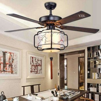 Remote contntrol ceiling chandelier fan LED fan lights ceiling chandelier Chinese living room bedroom lighting fan