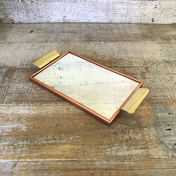Tray Mirror Tray Vanity Mirror Vanity Tray Dresser Tray Dresser Top Mirror Small Mirrored Tray Art Deco Tray Small Serving Tray