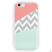 Mint And Coral Chevron Blue Custom For iPhone 6 / 6 Plus Case