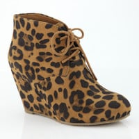 Becca Leopard Wedge Booties