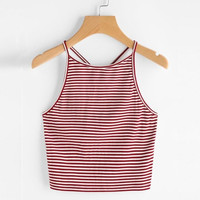 Red Striped Crop Tops Sexy Bustier Tank Top Sexy Girls Goth Cropped Woman Sleeveless Bodycon Tank Top Tomara Que Caia#99 SM6