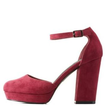 Burgundy Two-Piece Chunky Platform Heels by Charlotte Russe
