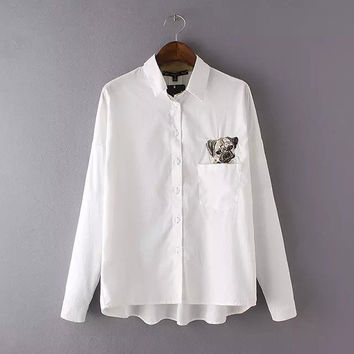 Korean Embroidery Dogs Blouse [6267946438]