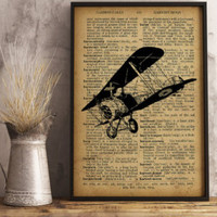 Aircraft decor, Airplane Print, Dictionary Art Print, Aircraft decor vintage style, Pilot Gift, Aviator Gift,  Aviation wall art (A011)