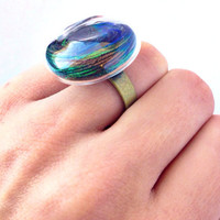 Real Peacock Feather Glass Ring by YouNaturally on Etsy