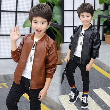 New Spring Boys Fashion Leather Jackets Kids Casual Solid Coat Faux Children School Outwear
