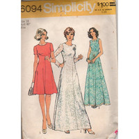 Simplicity Evening Gown Cocktail Dress 70s Sewing Pattern High Neck A-line Front Seam Empire Waist Bust 40 Plus Size Fashion