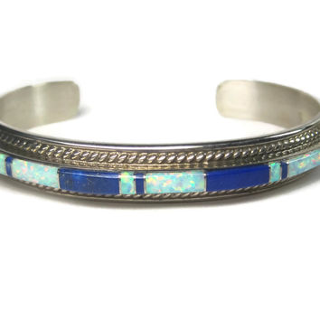 Vintage 90s Navajo Opal Lapis Inlay Cuff Bracelet 6.25 Inches Thomas Francisco