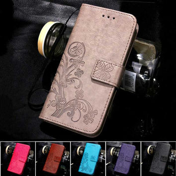 Four Leaf Clover Case for Nexus 5 Cover with Flip Wallet Case for Google LG Nexus 5 Case Phone Coque Hoesjes PU Leather