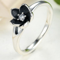 Authentic Mystic Floral Flower Stackable Ring CZ & Black Enamel 925 Sterling Silver