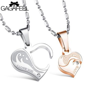 Gold Color AAA Zircon Natural Stone Stainless Steel Men Women Couples Pendant Necklace  Fine Jewelry Love Heart Best Gifts N922