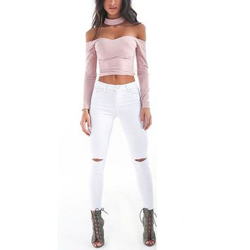 MUQGEW 2017 Summer Ripped Jeans Short Pants  Women Casual Lace Women High Waisted Elasticity Knee Hole Jeans Skinny Laies Pants