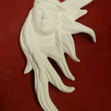 Native American Indian Maiden Hair Blowing in the Wind Plaque