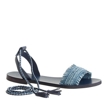 J.Crew Womens Raffia Ankle-Tie Sandals
