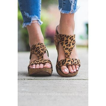 Kira Slip On Wedge Sandals | Leopard