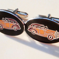 Vintage Antique Car Cuff Links Mens Rolls Royce