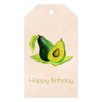 Green Avocado Still Life Fruit in Watercolors Gift Tags