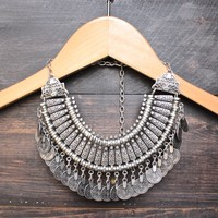 antalya turkish coin collar bib necklace - silver
