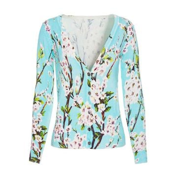 Spring Women Sweater Flower Pattern V-neck Short Knitted Cardigan Slim Casual Jacket Out Coat