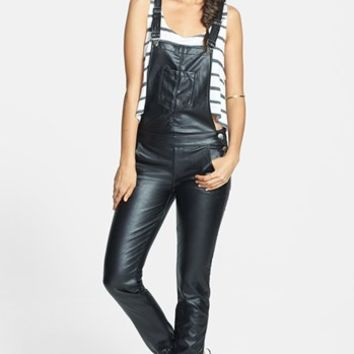 SP Black Faux Leather Overalls (Juniors) (Online Only)