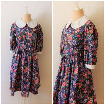 Vintage Lands End Girls Peter Pan Collar Floral Modest Prairie Dress Girls 12