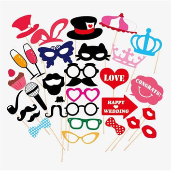 31 pcs set Wedding Photo Booth Props Party Decorations Supplies Mask Mustache For Fun Favors Photobooth Photocall