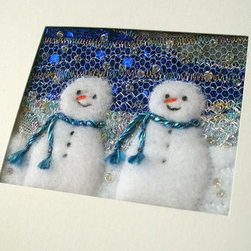 Fabric snowmen card - beaded embroidered card - fabric art - winter landscape - handmade greeting card - nursery art -
