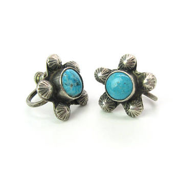 Navajo Turquoise Earrings Small Sterling Silver Five Point Stars Embossed Hand Stamped Suns Screw Backs Vintage Native American Jewelry