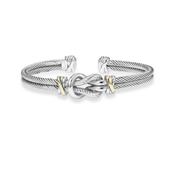18k Yellow Gold And Sterling Silver Love Knot Cuff Bangle Bracelet