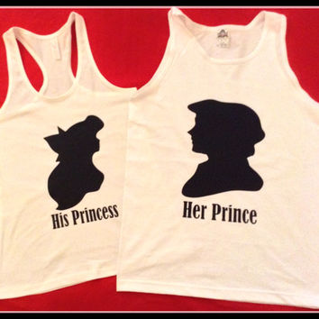 Disney Inspired Couples TShirt Ariel and Eric Inspired, Couples Tanks Disney Princess Inspired Shirts