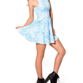 Light Blue Snowflake Print Skater Dress