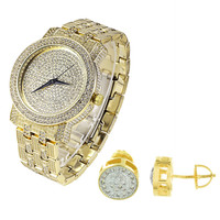 Iced Out 14k Gold Finish Men's Watch and Earrings Combo Set