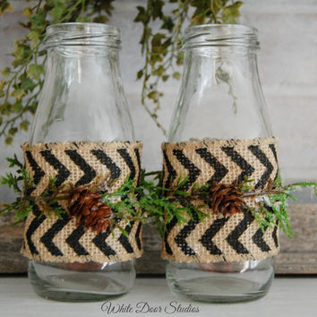 Winter Milk Jar Vases with Chevron Ribbon and Evergreen, Holiday, Christmas, Farmhouse, Rustic Decor