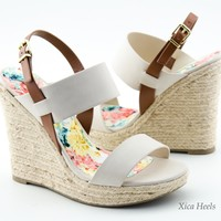 Womens High Heel Wedge Sandals Slingback Open Toe Platform Espadrille Fashion